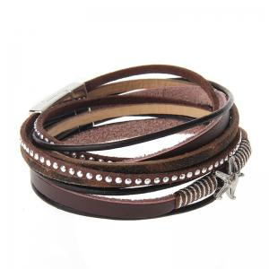 The New Fashion Personality All-match Multi-Level Pentagram Magnet Buckle Leather Bracelet -