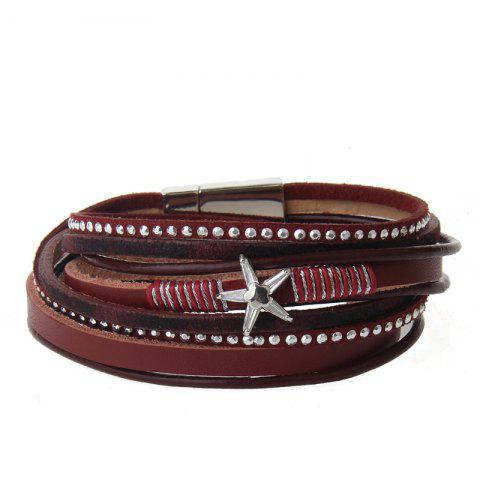 Sale The New Fashion Personality All-match Multi-Level Pentagram Magnet Buckle Leather Bracelet