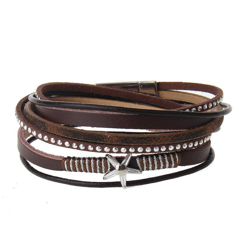 Outfits The New Fashion Personality All-match Multi-Level Pentagram Magnet Buckle Leather Bracelet