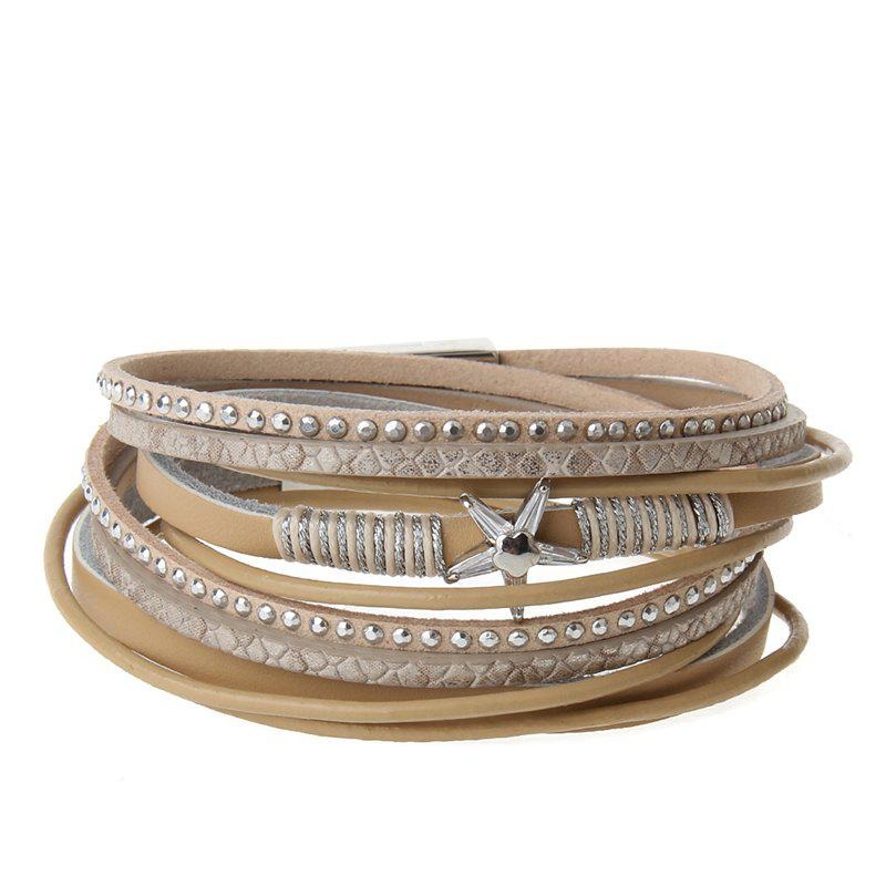 Fashion The New Fashion Personality All-match Multi-Level Pentagram Magnet Buckle Leather Bracelet