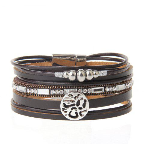 Latest New Fashion Jewelry All-match Multi-Level Christmas Snowflake Magnet Buckle Leather Bracelet