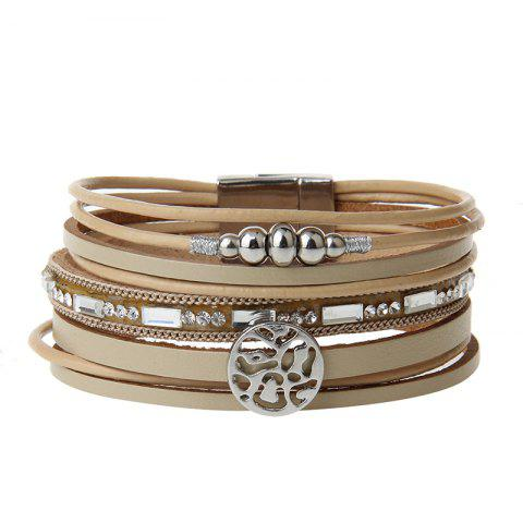 Outfit New Fashion Jewelry All-match Multi-Level Christmas Snowflake Magnet Buckle Leather Bracelet