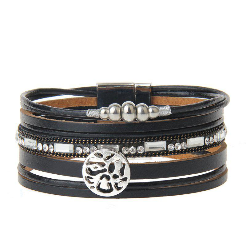 Store New Fashion Jewelry All-match Multi-Level Christmas Snowflake Magnet Buckle Leather Bracelet
