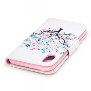 White Tree Pattern Luxury Style PU Leather Mobile Phone Case Flip Cover for iPhone X -