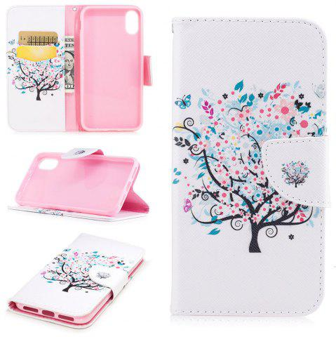 Unique White Tree Pattern Luxury Style PU Leather Mobile Phone Case Flip Cover for iPhone X