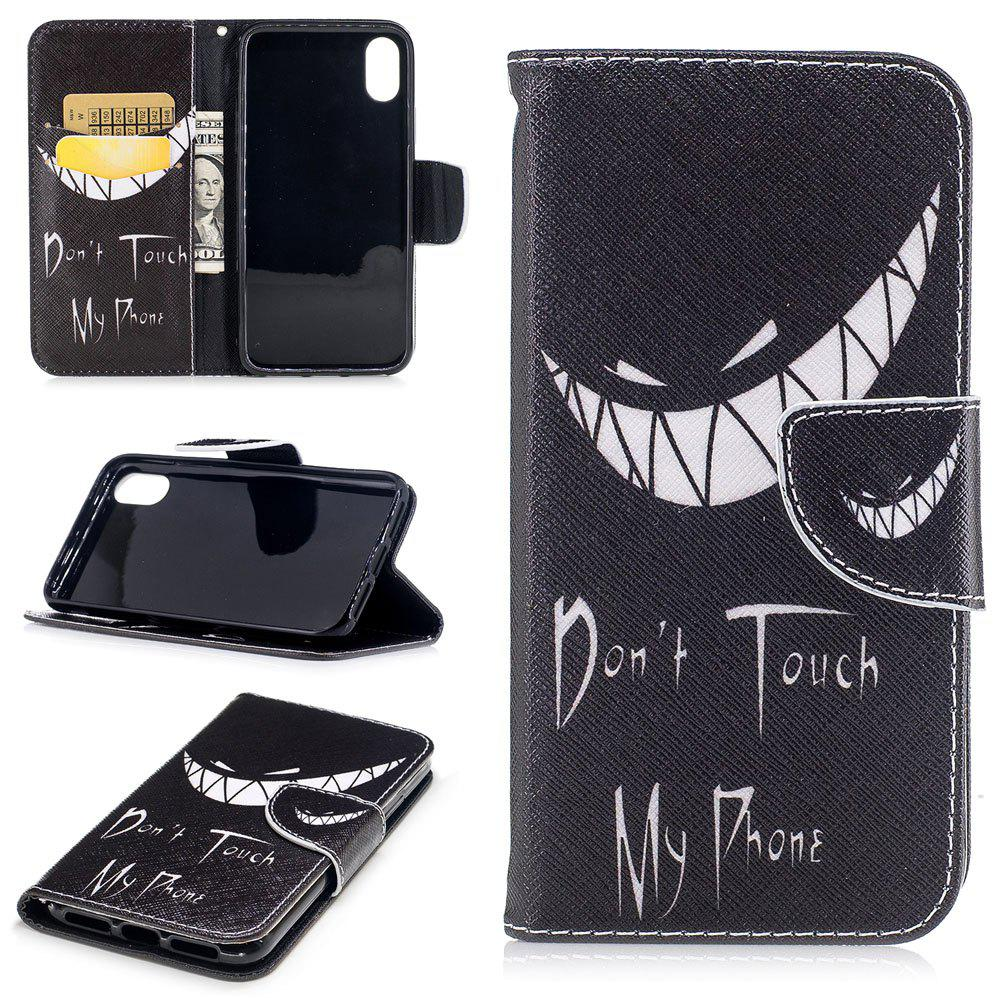 Fashion Bad Smile Pattern Luxury Style PU Leather Mobile Phone Case Flip Cover for iPhone X