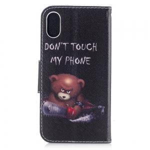 Bear Pattern Luxury Style PU Leather Mobile Phone Case Flip Cover for iPhone X -