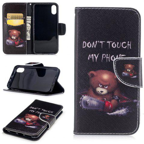 Shops Bear Pattern Luxury Style PU Leather Mobile Phone Case Flip Cover for iPhone X