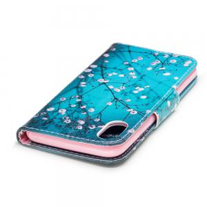 Plum Blossom Pattern Luxury Style PU Leather Mobile Phone Case Flip Cover for iPhone X -