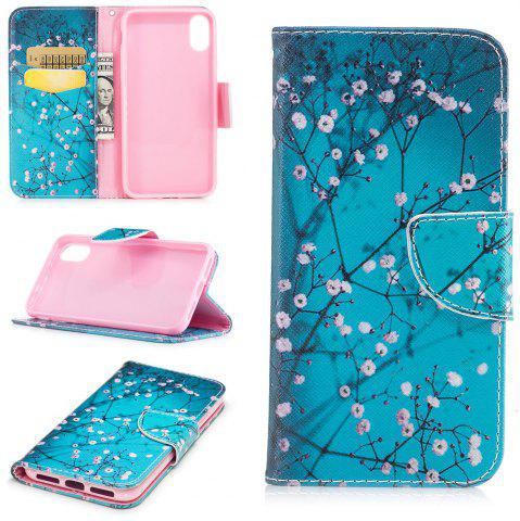 Outfits Plum Blossom Pattern Luxury Style PU Leather Mobile Phone Case Flip Cover for iPhone X