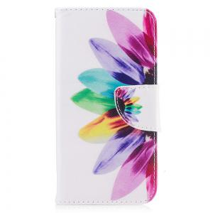 Sunflower Pattern Luxury Style PU Leather Mobile Phone Case Flip Cover for iPhone X -