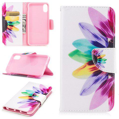 Fancy Sunflower Pattern Luxury Style PU Leather Mobile Phone Case Flip Cover for iPhone X
