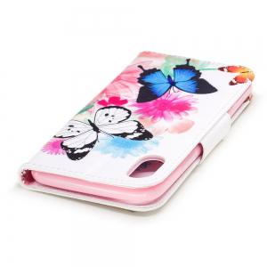 Butterfly Pattern Luxury Style PU Leather Mobile Phone Case Flip Cover for iPhone X -