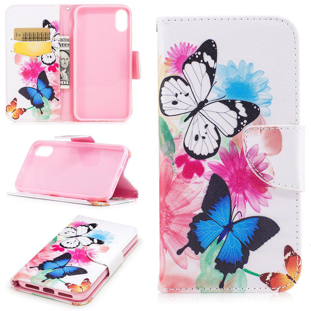 Latest Butterfly Pattern Luxury Style PU Leather Mobile Phone Case Flip Cover for iPhone X