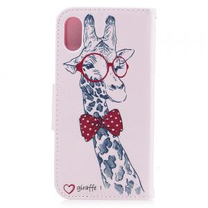 Giraffe  Pattern Luxury Style PU Leather Mobile Phone Case Flip Cover for iPhone X -