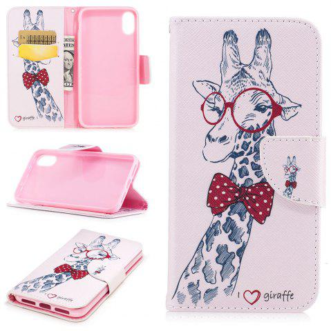 Affordable Giraffe  Pattern Luxury Style PU Leather Mobile Phone Case Flip Cover for iPhone X