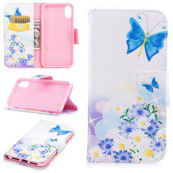 Blue BGutterfly Pattern Luxury Style PU Leather Mobile Phone Case Flip Cover for iPhone X -