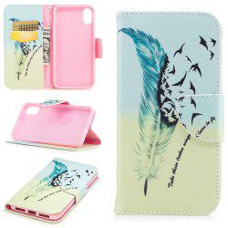 Blue Feather Pattern Luxury Style PU Leather Mobile Phone Case Flip Cover for iPhone X -