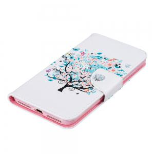 White Tree Pattern Luxury Style PU Leather Mobile Phone Case Flip Cover for iPhone 6 Plus / 6s Plus -