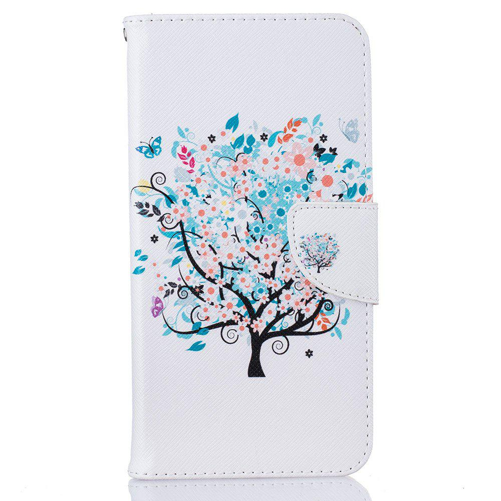 Fancy White Tree Pattern Luxury Style PU Leather Mobile Phone Case Flip Cover for iPhone 6 Plus / 6s Plus