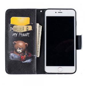Bear Pattern Luxury Style PU Leather Mobile Phone Case Flip Cover for iPhone 6 / 6s -