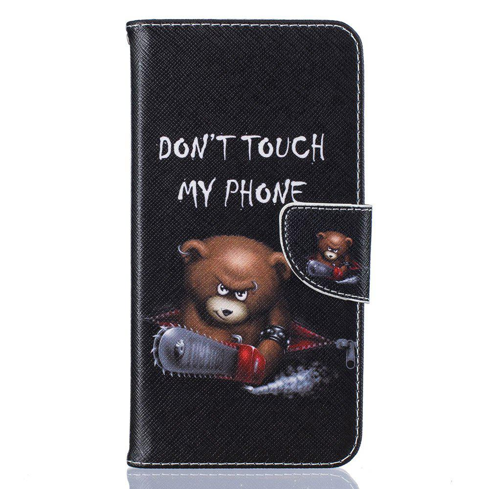 Outfit Bear Pattern Luxury Style PU Leather Mobile Phone Case Flip Cover for iPhone 6 / 6s