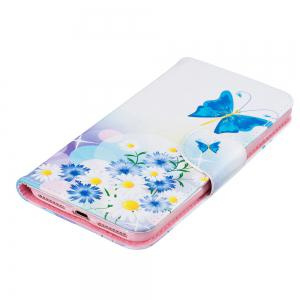Blue Butterfly Pattern Luxury Style PU Leather Mobile Phone Case Flip Cover for iPhone 6 / 6s -