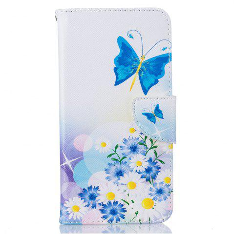 Cheap Blue Butterfly Pattern Luxury Style PU Leather Mobile Phone Case Flip Cover for iPhone 6 / 6s