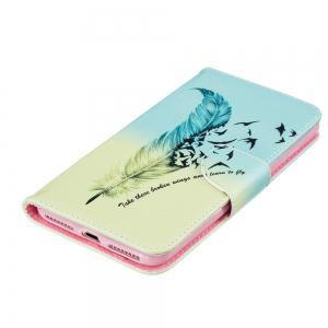 Blue Feather Pattern Luxury Style PU Leather Mobile Phone Case Flip Cover for iPhone 6 / 6s -