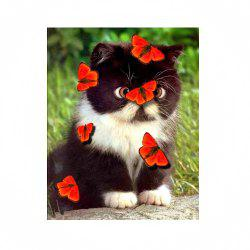 Naiyue 7193 Butterfly Love Cats Print Draw Diamond Drawing -