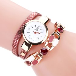 DUOYA D167 Women Wrap Around Leather Wrist Watches - Red - With Built-in Battery