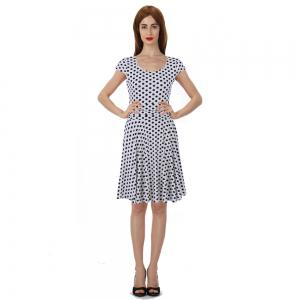 2017 New Style Woman Summer Printed  Dot Square Collar Short Sleeve Knee Length Casual Dress -