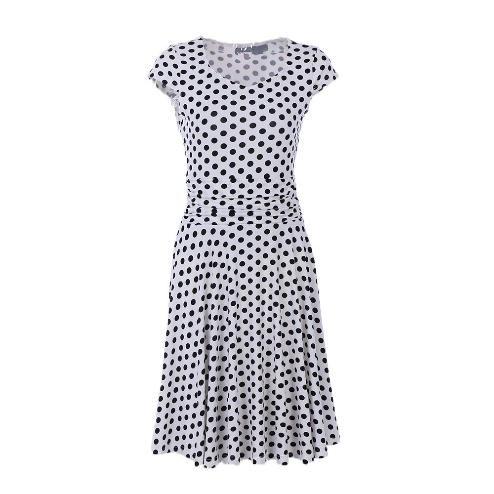 Shop 2017 New Style Woman Summer Printed  Dot Square Collar Short Sleeve Knee Length Casual Dress