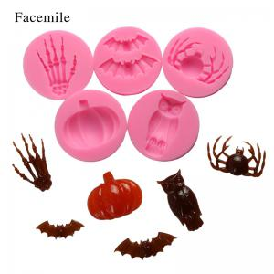 Facemile Halloween Fondant Chocolate Silicone Molds Hand Skeleton Spider Bats Pumpkin Owls Clay Baking Tool Cake Decor Tool 6PCS/set -