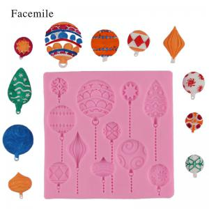 Facemile Christmas DIY Balloon Cake Border Fondant Gum Paste Cupcake Chocolate Silicone Mold Birthday Cake Decorating Tool -