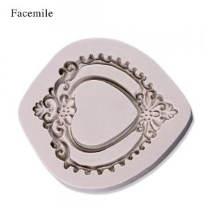 Facemile 3D Retro Heart Mirror Frame Shape Cake Decorating Tools Chocolate Mold Kitchen Baking DIY Fondant Silicone Mold -