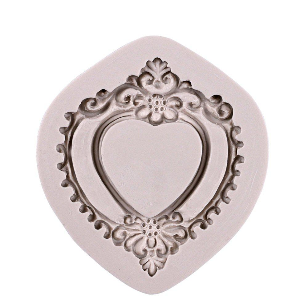 Outfit Facemile 3D Retro Heart Mirror Frame Shape Cake Decorating Tools Chocolate Mold Kitchen Baking DIY Fondant Silicone Mold