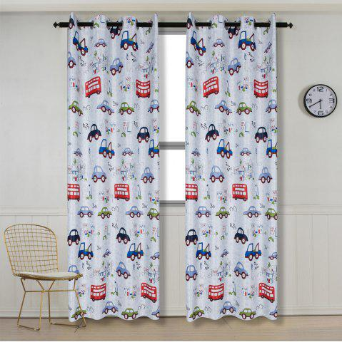 Chic Grommet Top Cartoon Blackout Car Curtains for Family Children Bedroom Living Room