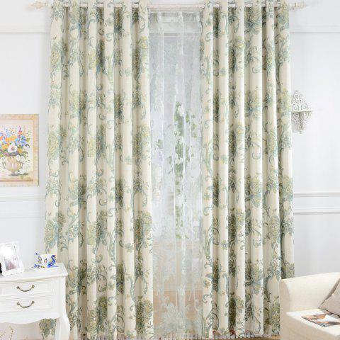 Trendy Korean Pastoral Style High-End Mahjong Blackout Curtains Grommet 2PCS