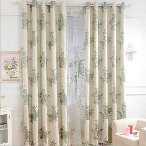 Shops Korean Style High-Grade Linen Super Thick Jacquard Blackout Curtains Grommet 2PCS