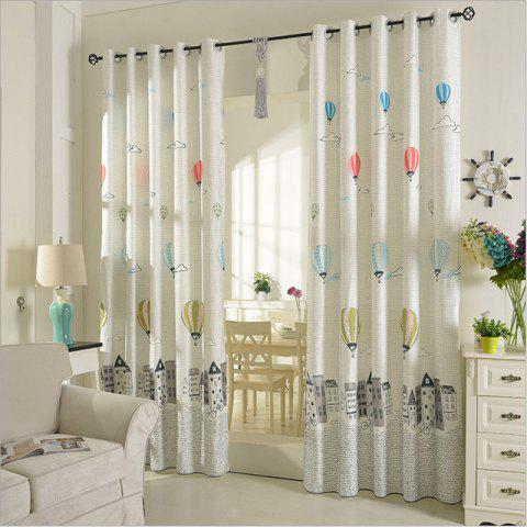 Online Children Room Cute Cartoon Style Printing Curtains Grommet 2PCS