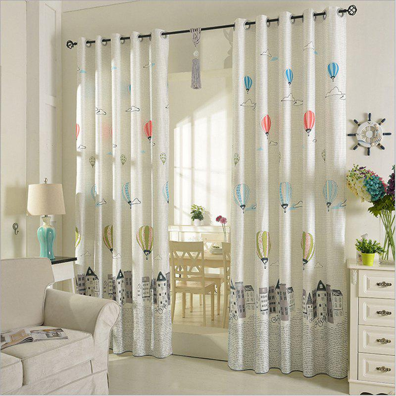 Cheap Children Room Cute Cartoon Style Printing Curtains Grommet 2PCS
