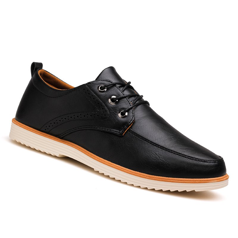 Shop Male Business Stylish Gradient Toe British Casual Leather Shoes