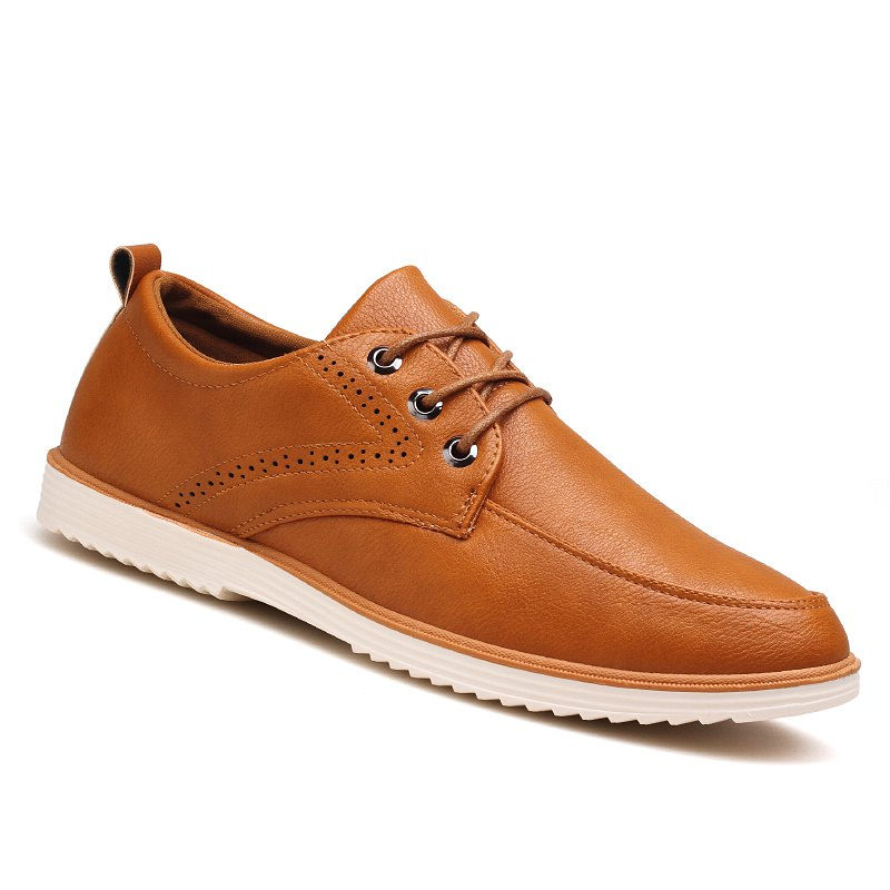 Trendy Male Business Stylish Gradient Toe British Casual Leather Shoes
