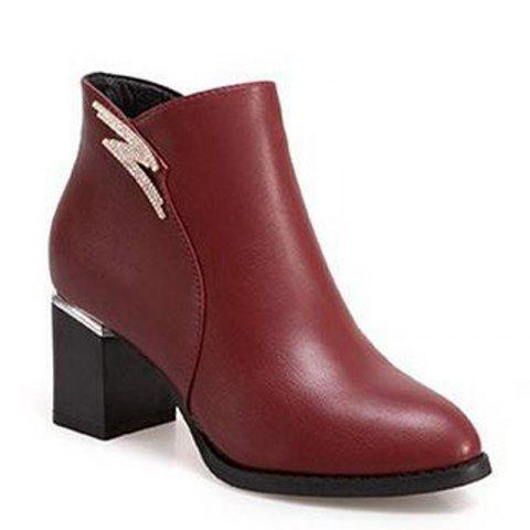 Latest 2017 New Winter with Cashmere Pointed Thick Heeled Slip All-match Fashion Boots