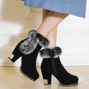 New Fashion and All-match Plus Velvet Warm Female Boots -