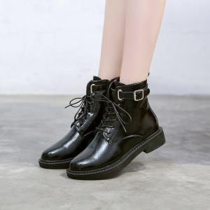 High Leather Plus Retro Cashmere All-match  Martin Boots -