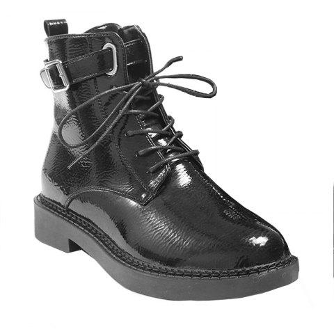 Chic High Leather Plus Retro Cashmere All-match  Martin Boots