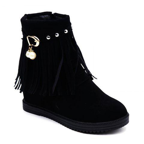 Chic Autumn and Winter Increase Flat Bottomed Fringed Female Boots