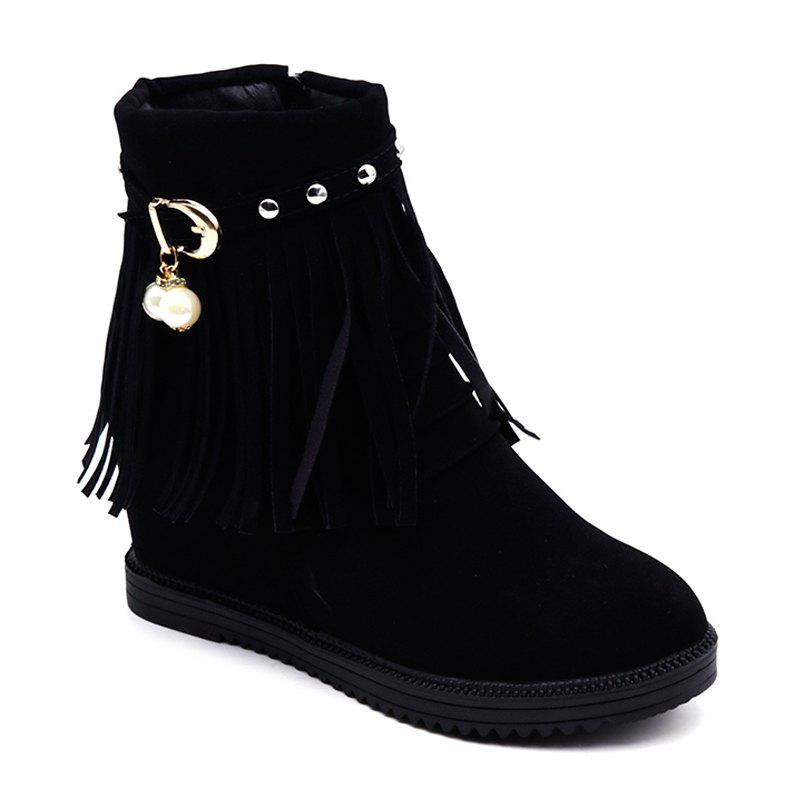 Latest Autumn and Winter Increase Flat Bottomed Fringed Female Boots